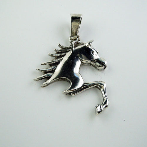 Traveling Horse Pendant Necklace in Sterling Silver