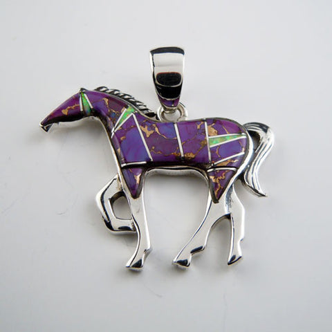Passion Purple Turquoise Inlay Horse Pendant