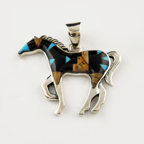 Patches Turquoise and Shell Inlay Horse Pendant Necklace