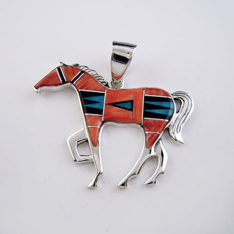 Quilted Large Inlay Horse Pendant