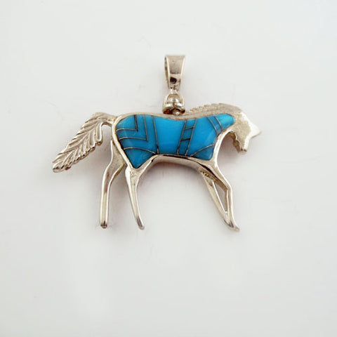 Reversible Inlay Horse Pendant Necklace - Two for One!