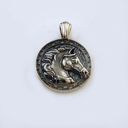 Greek Coin Styled Horse Head Pendant Necklace