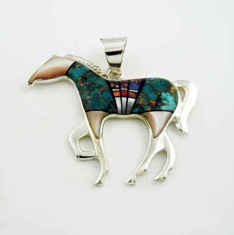 Large Matrix Turquoise Inlay Horse Pendant Necklace
