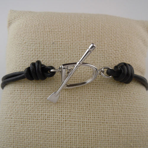 Sterling Silver Stirrup and Crop on Leather Bracelet