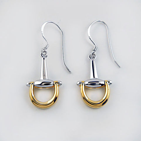 Snaffle Bit Earrings in Sterling Silver and 18k Gold Overlay