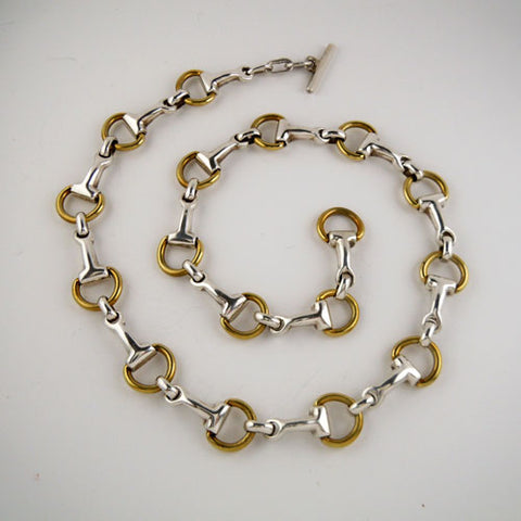Sterling & Brass Snaffle Bit Bracelet Necklace