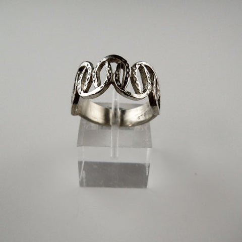 Sterling Silver Horseshoe Wedding Band Ring