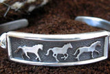 Three Horse Cuff Bracelet Sterling Silver
