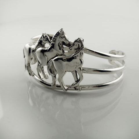 Three Horses Cuff Bracelet Sterling Silver