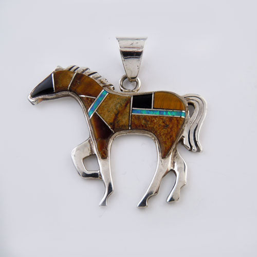 Tigers Eye Inlay Horse Pendant