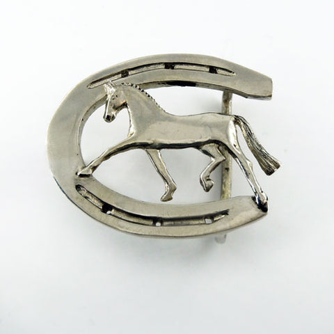 Extended Trot Dressage Horse Horseshoe Belt Buckle