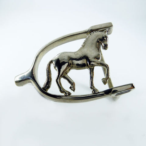 Dressage Horse and English Spur Belt Buckle