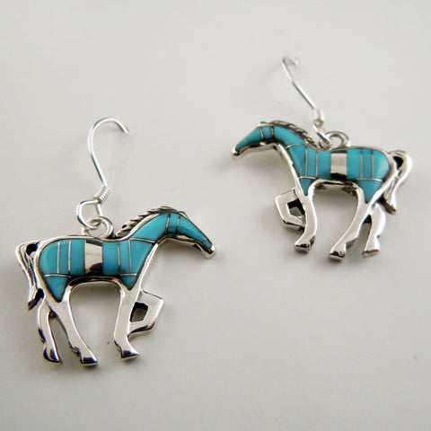 .Turquoise Silver Inlay Horse Earrings
