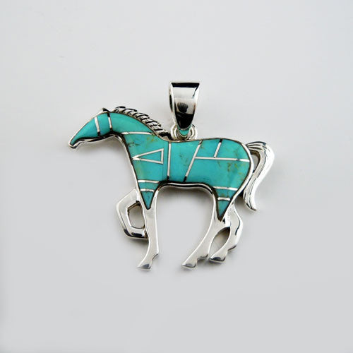 Turquoise Inlay Horse Pendant Necklace
