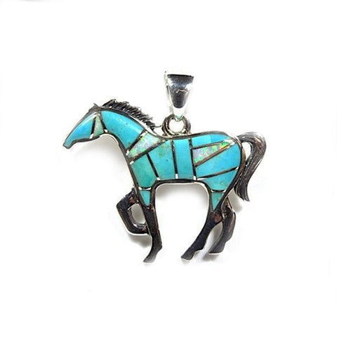 Lucky Turquoise Inlay Horse Necklace