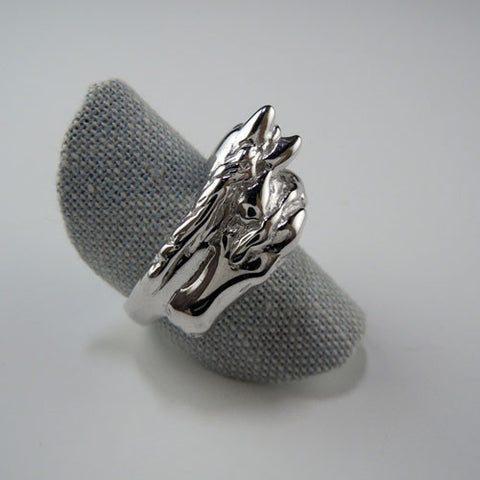 Two Horse Head Ring Sterling Silver