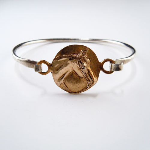 Interchangeable Centerpiece Horse Bangle Bracelet Sterling Bronze