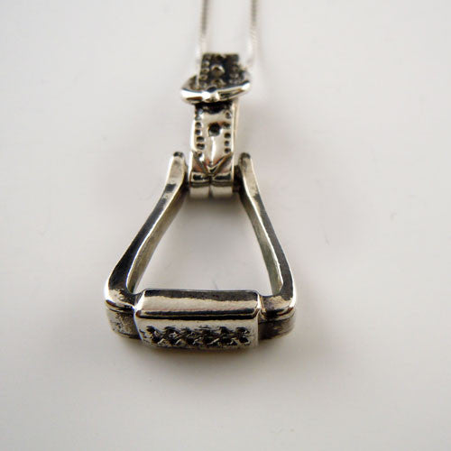 Western Stirrup Pendant Necklace Sterling Silver