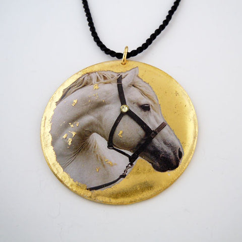 Horse Head with Gold Leaf Pendant