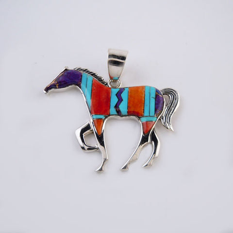 Colorful Large Zig Zag Inlay Horse Pendant