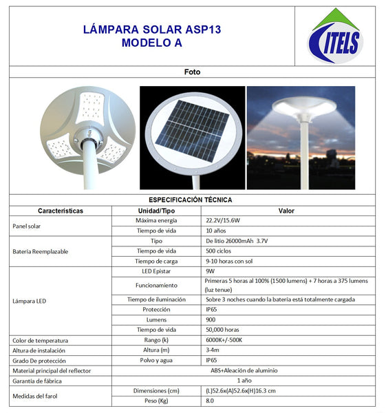 Lámpara solar APS13