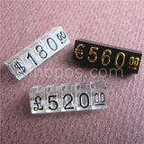 Medium Adjustable Price Tags Euro Pound Lira, assembly blocks number digit cube phone watch jewelries counter display stand sign