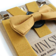 Mustard Yellow Bow Tie & Suspenders Set