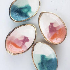 Karacotta Ceramics- Sunset Abalone Smudge Dish with 22K Gold - Strollerdepot