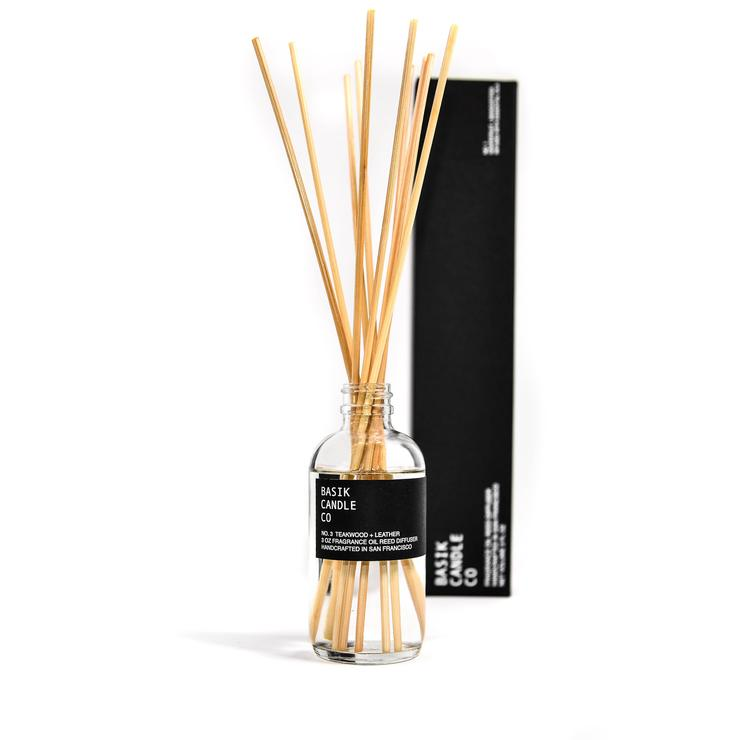 Basik Candle Co.-No. 3 Teakwood + Leather Reed Diffuser - Strollerdepot