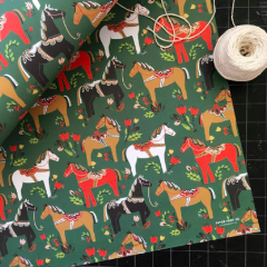 Dala Pony Gift Wrap in Pine 3 Sheets - Strollerdepot