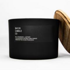 Basik Candle Co. No. 3 Teakwood + Leather - Strollerdepot