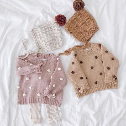 Khaki Pompom and Pastells Sweater - Strollerdepot