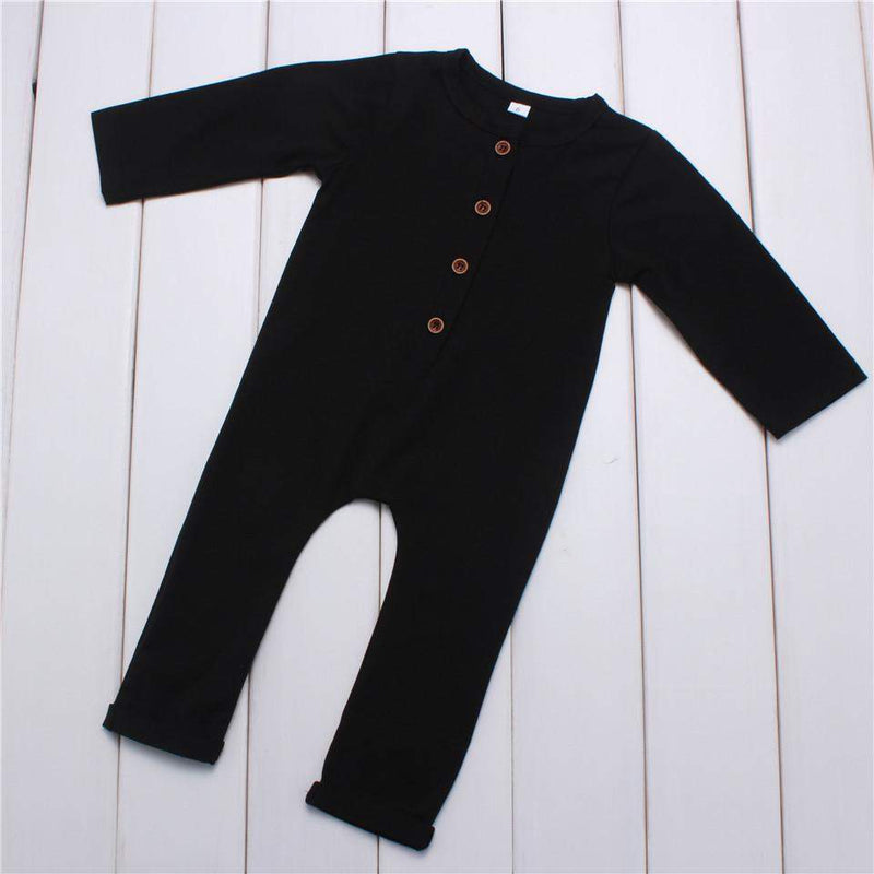 Solid Cotton Long Sleeve Romper
