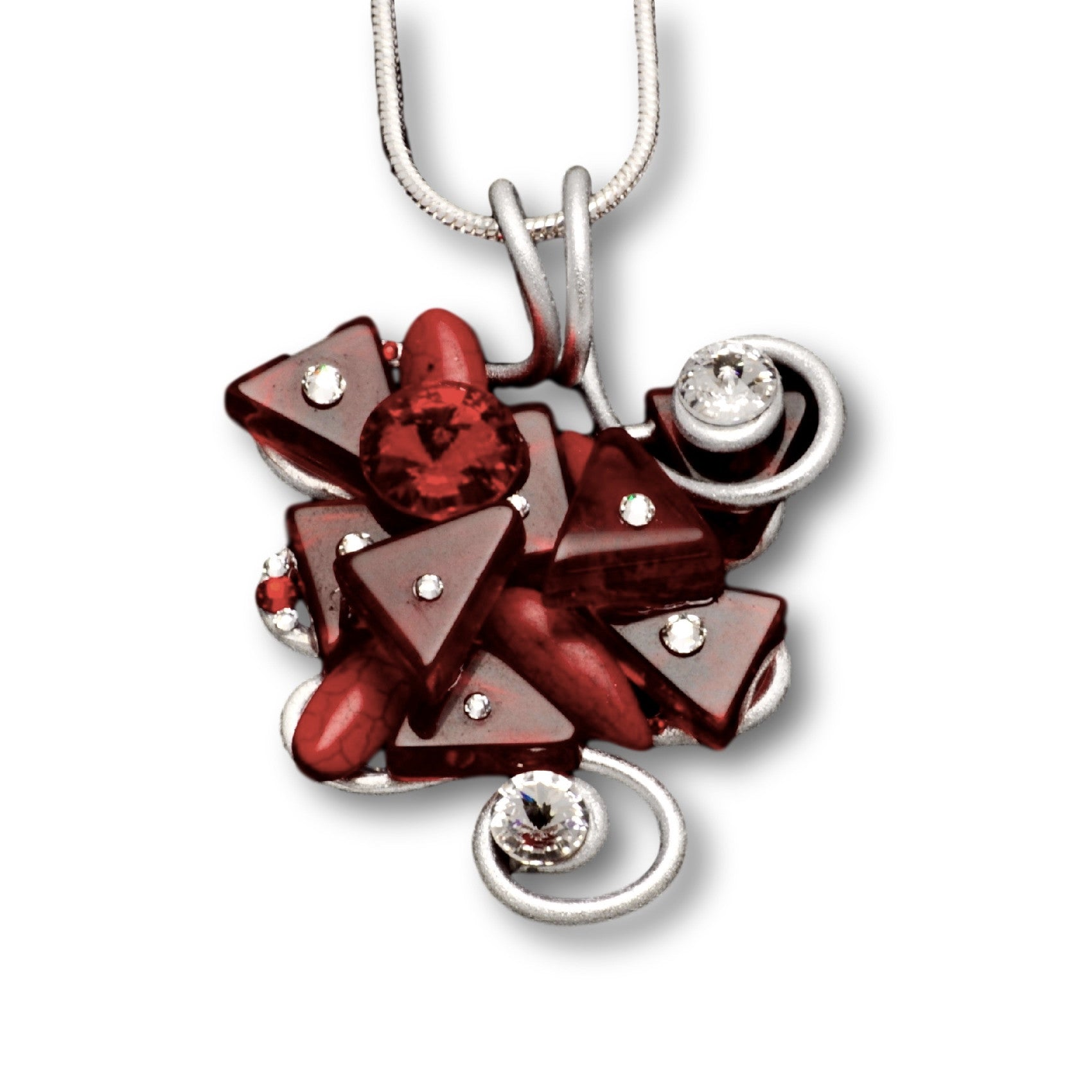 Red Stone/Crystal Wire Pendant