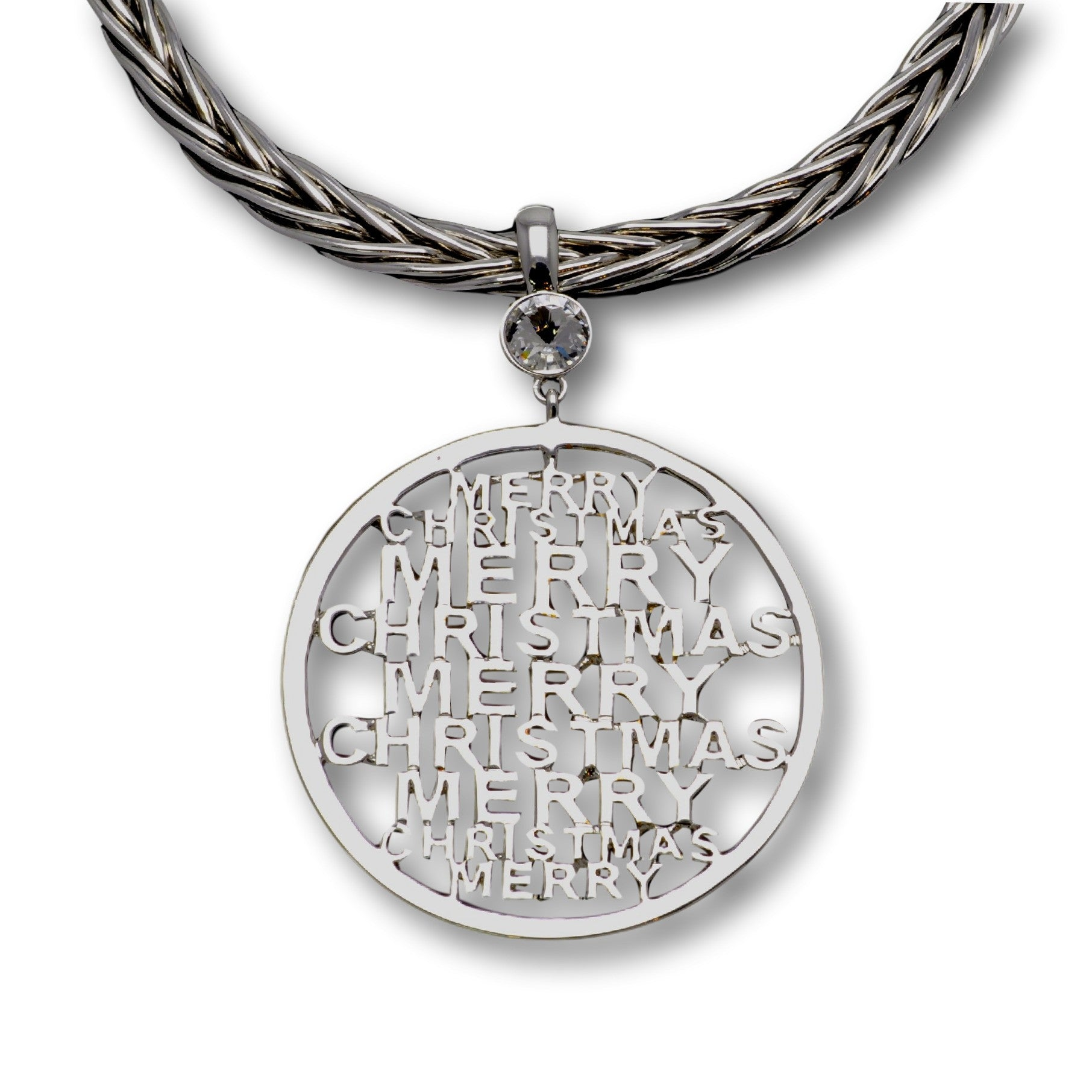 Merry Christmas Pendant (Silver)