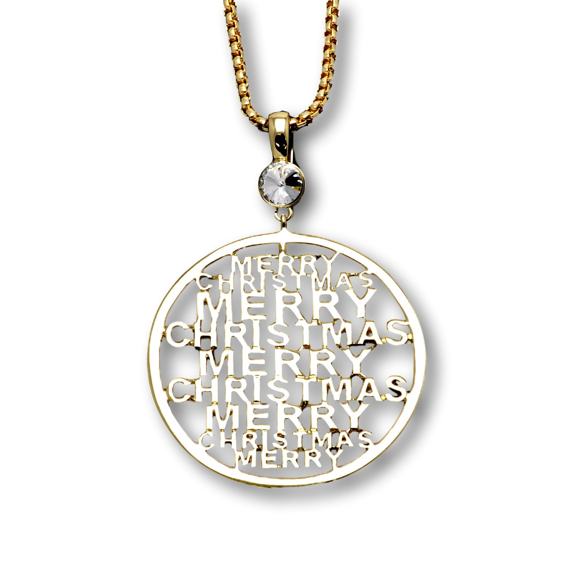 Merry Christmas Pendant (Gold)