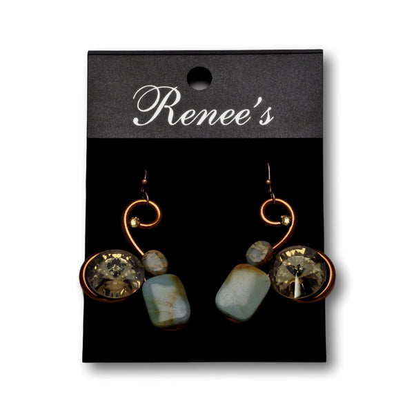Blue Jasper/Crystal Bronze Wire Earrings