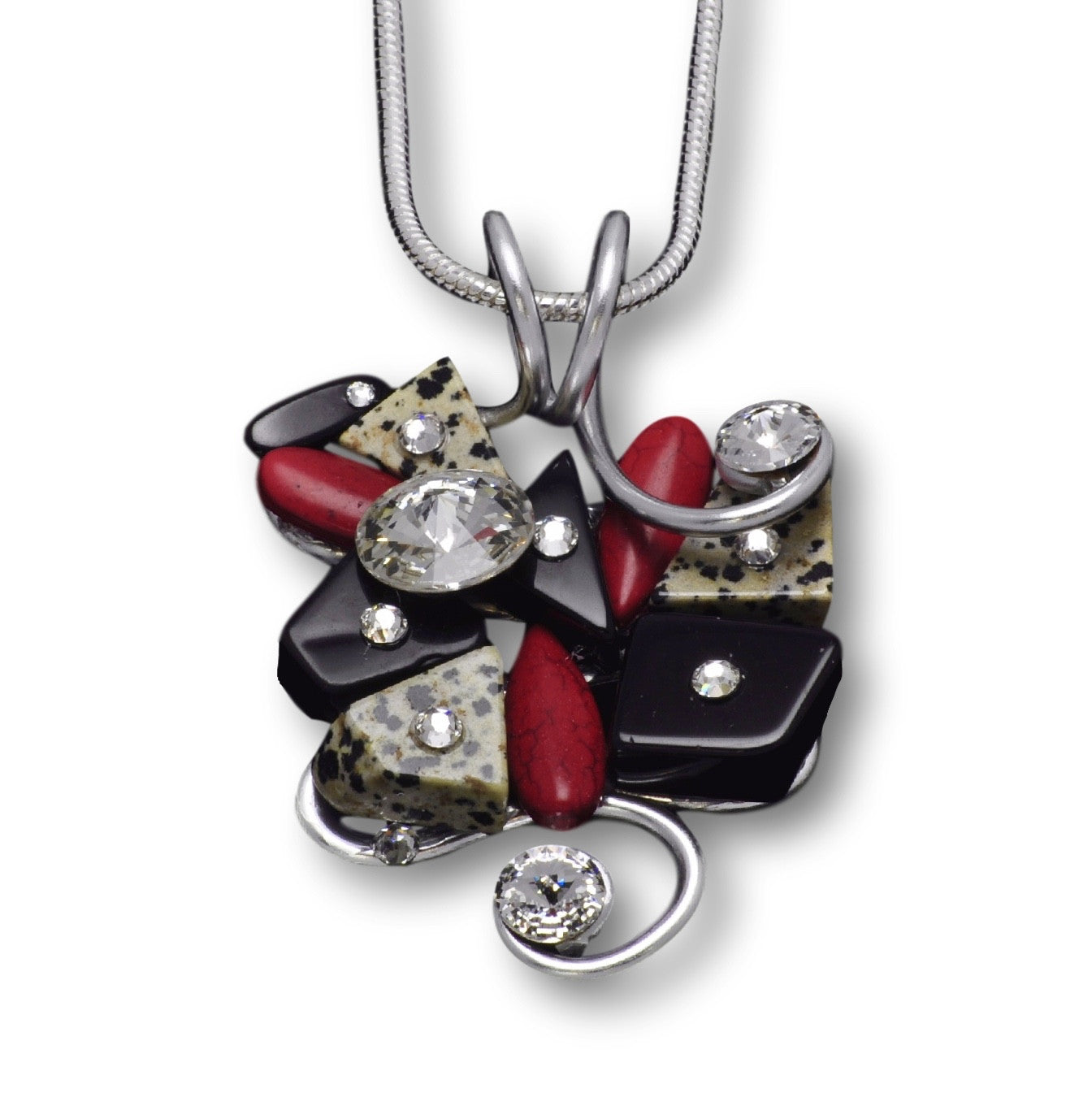 Dalmation/Red Stone/Black Stone/Crystal Wire Pendant