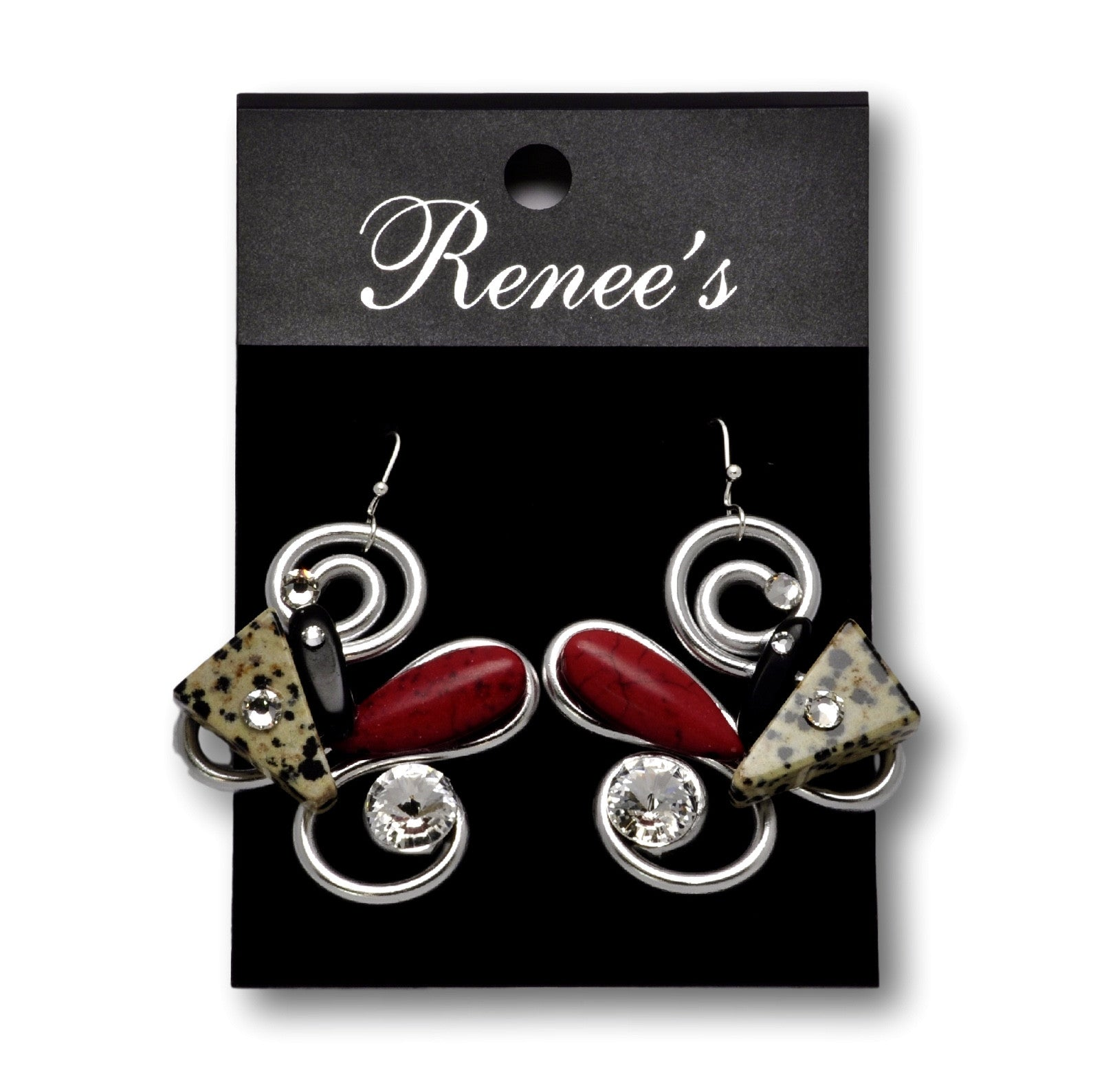 Dalmation/Red Stone/Black Stone/Crystal Wire Earrings
