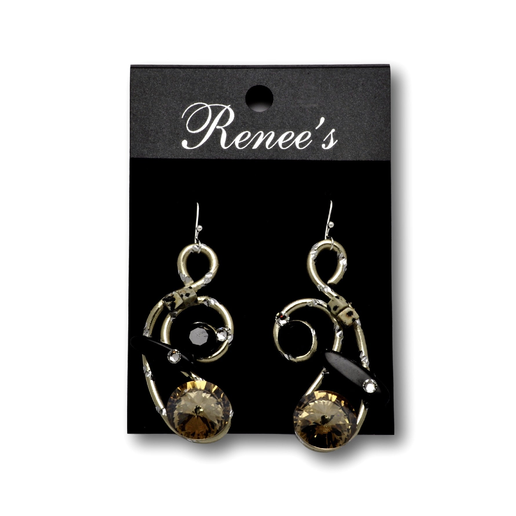 Dalmation Jasper/Black Stone/Crystal Gold Diamond-Cut Wire Earrings