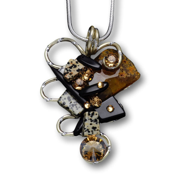 Dalmation Jasper/Black Stone/Crystal Gold Diamond-Cut Wire Pendant