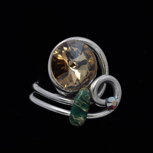 African Turquoise/Crystal Wire Ring