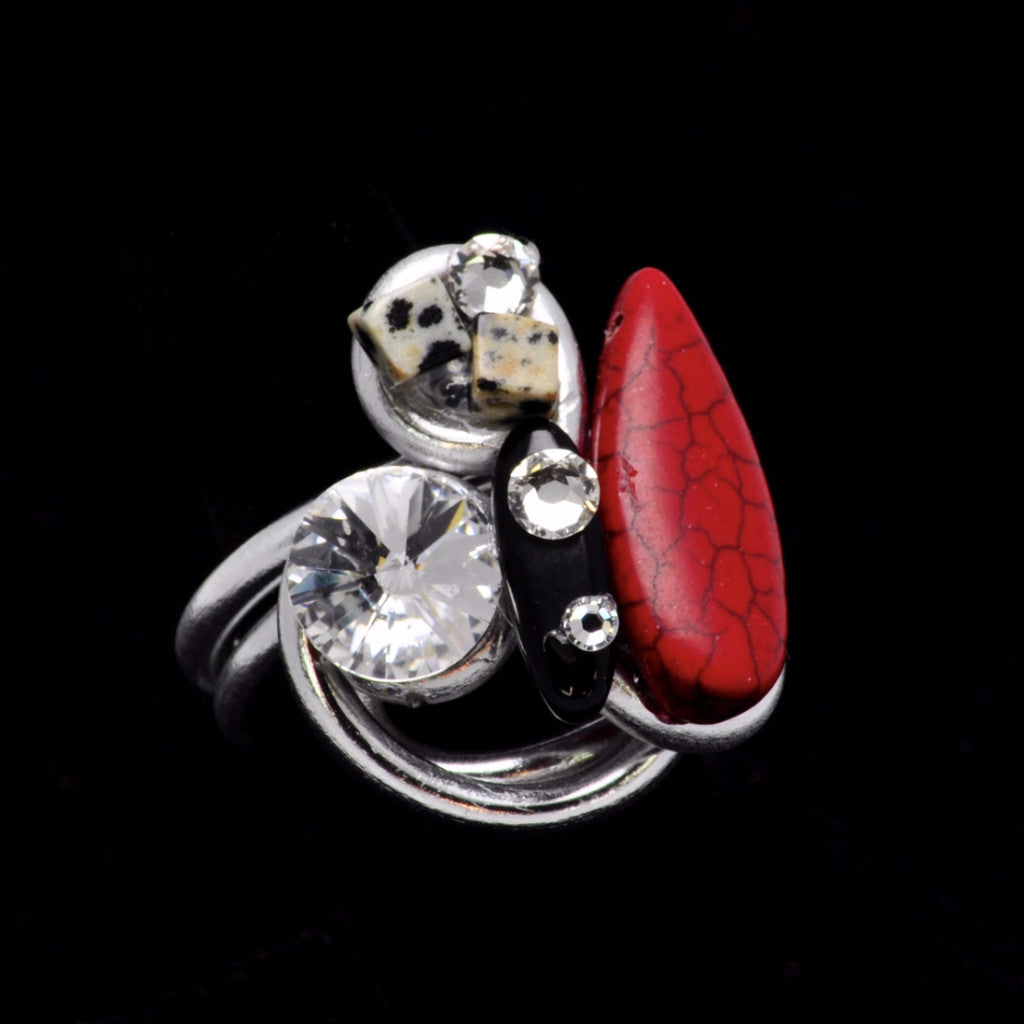 Dalmation/Red Stone/Black Stone/Crystal Wire Ring