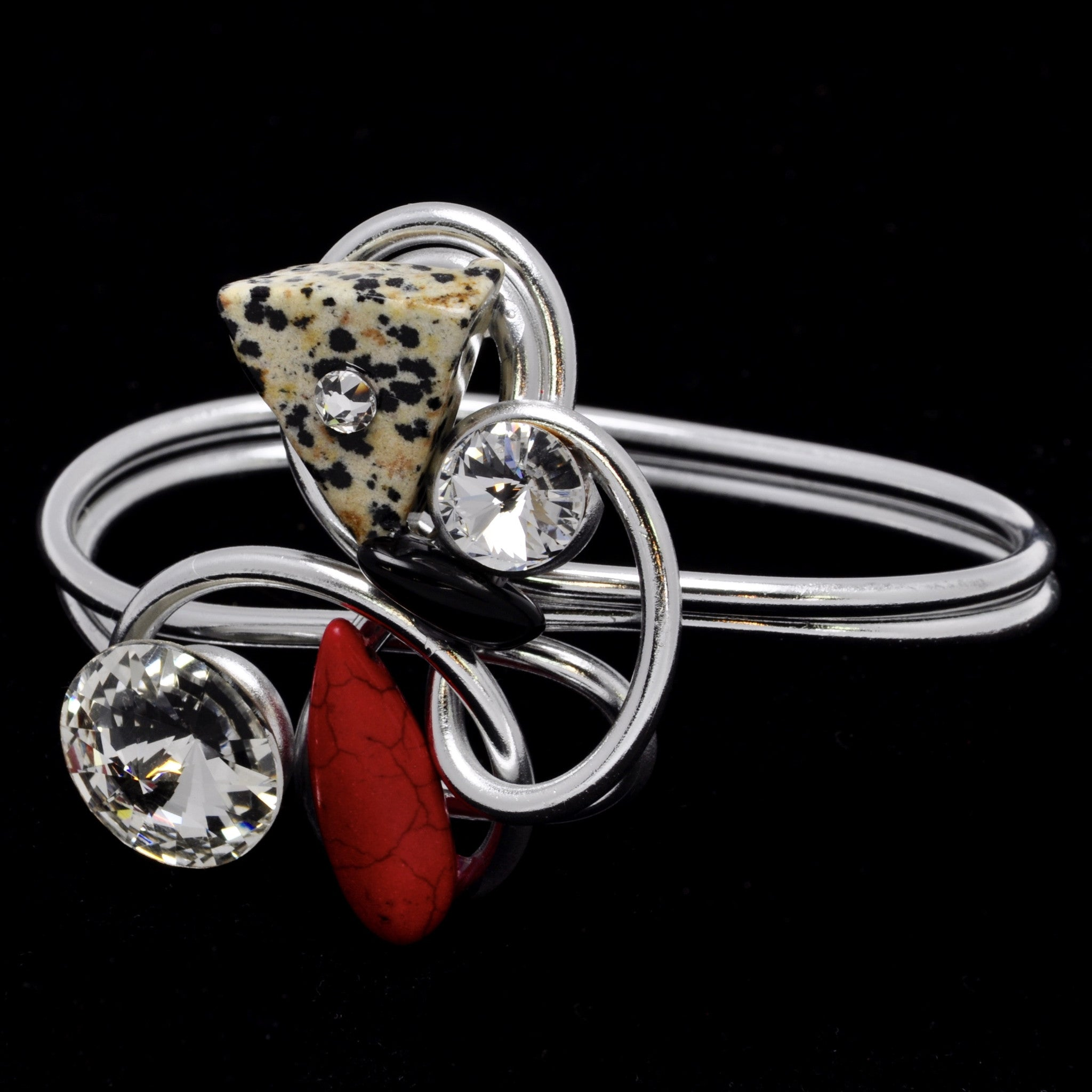 Dalmation/Red Stone/Black Stone/Crystal Wire Bracelet