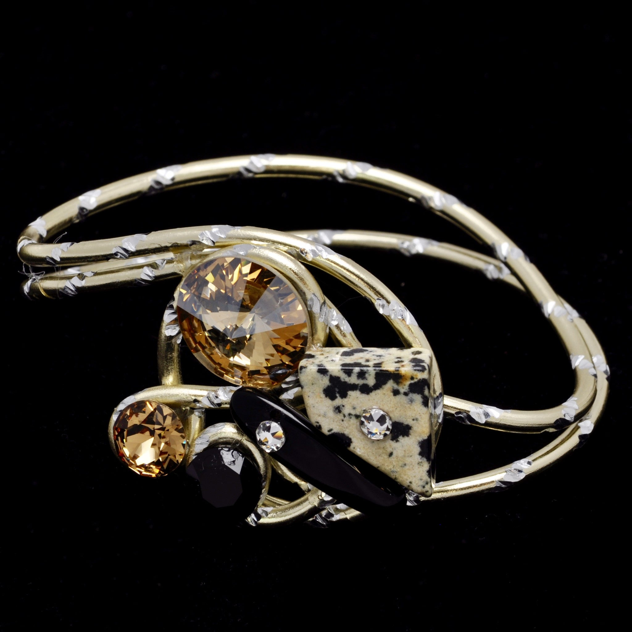 Dalmation Jasper/Black Stone/Crystal Gold Diamond-Cut Wire Bracelet