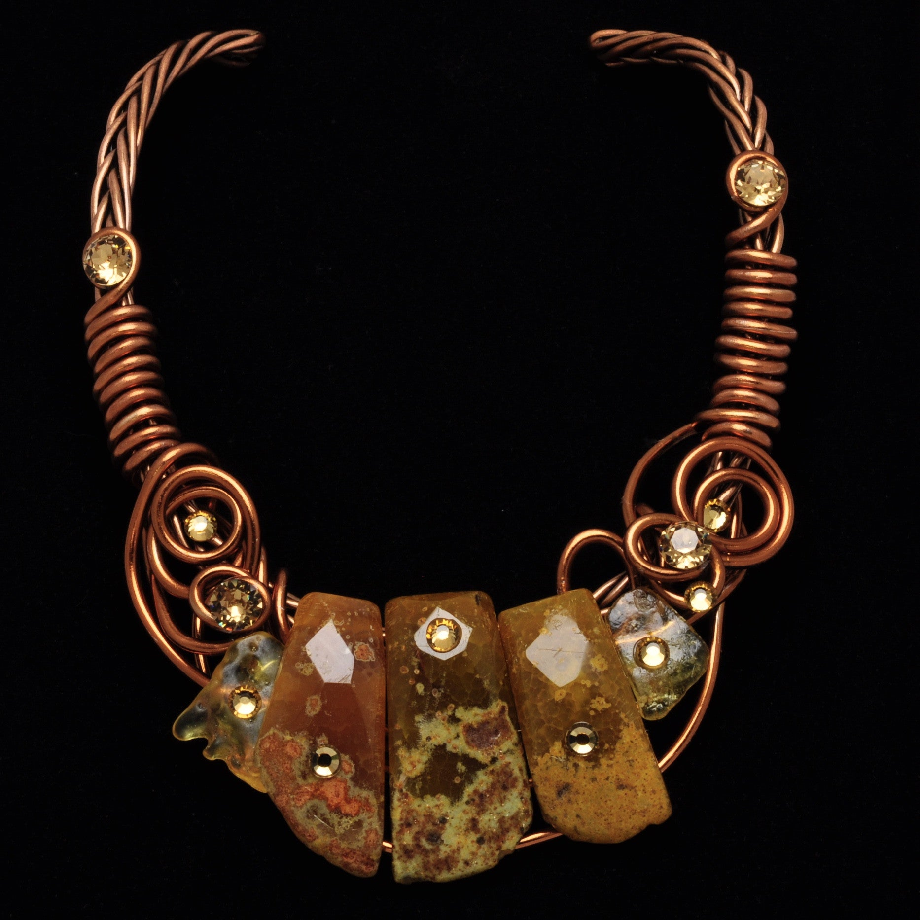 Amber Stone/Crystal Copper Wire Choker