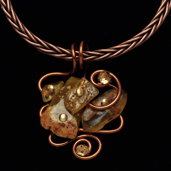 Amber Stone/Crystal Copper Wire Pendant