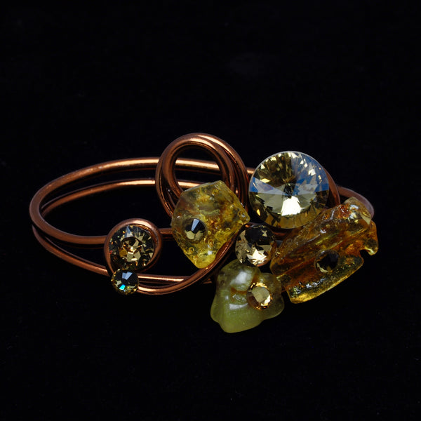 Amber Stone/Crystal Copper Wire Bracelet