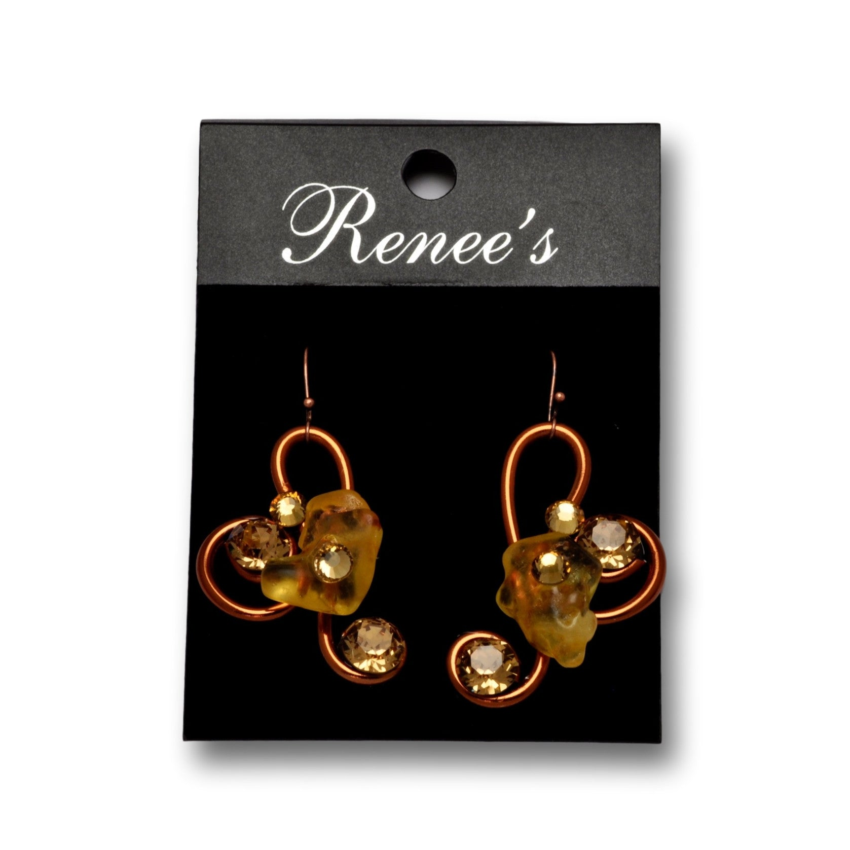 Amber Stone/Crystal Copper Wire Earrings