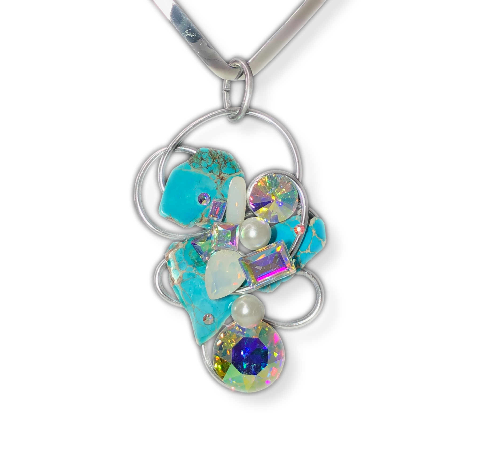 Turquoise Stone / Multicolor Crystal Wire Pendant